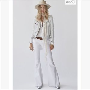 Free People Super Flare Raw Hem White Jeans